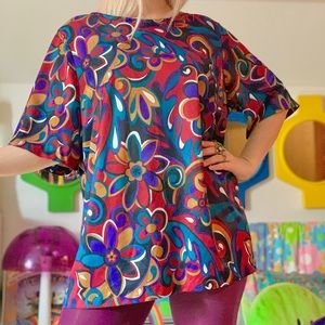 Vintage 70s psychedelic plus size blouse
